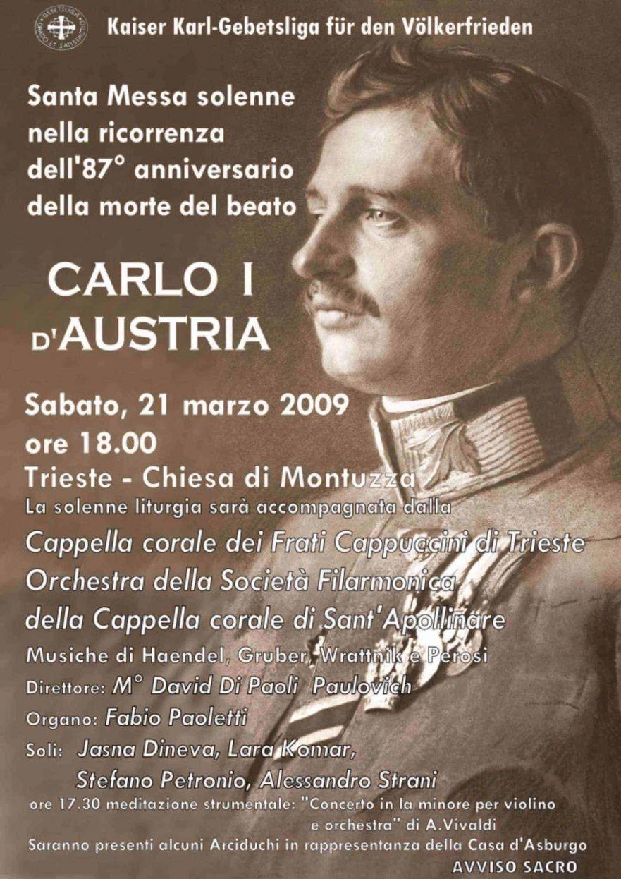 Manifesto Messa solenne per la pace - 87.mo Anniversario della morte del Beato Carlo I d'Austria