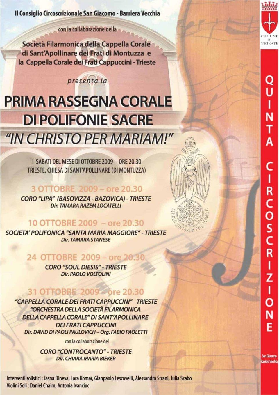 Manifesto Rassegna corale di musica sacra Beata Vergine Maria