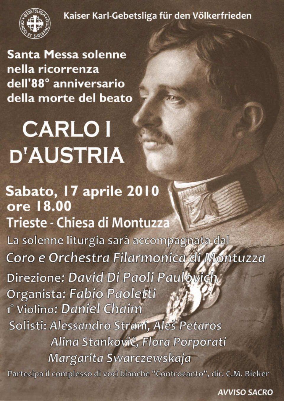 Manifesto Messa solenne per la pace - 88.mo Anniversario della morte del Beato Carlo I d'Austria
