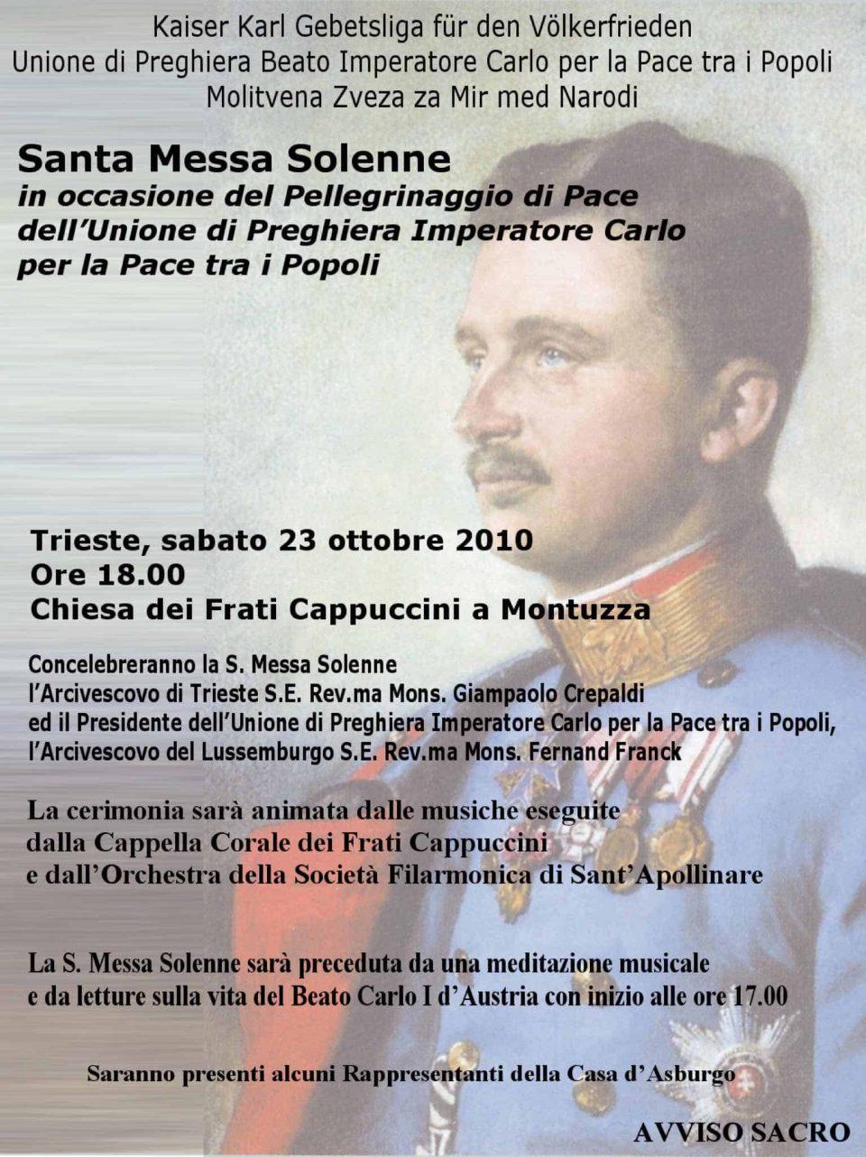 Manifesto Santa Messa solenne -Convegno Internazionale dell'Unione di preghiera Imperatore Carlo per la pace tra i popoli